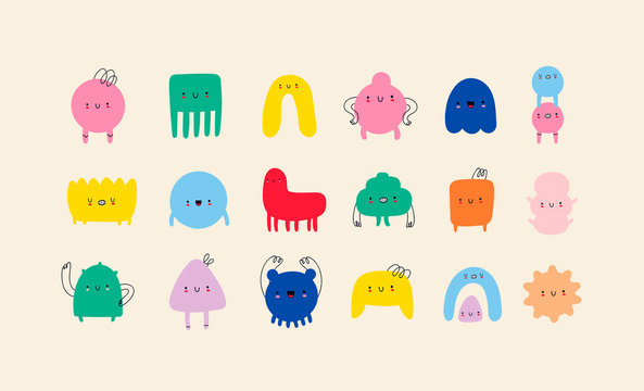 Hand drawn cute Tiny Little Doodle Monsters. Cheerful face emotions. Colorful big Vector set. Trendy illustration for kids. All elements are isolated