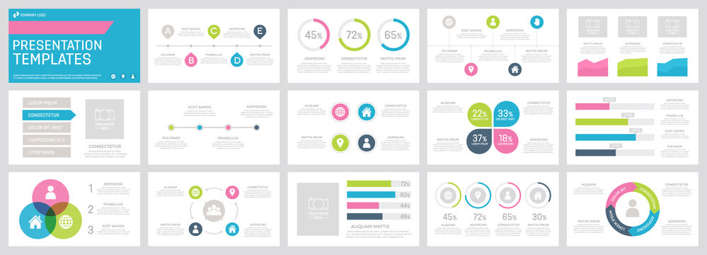 Set of green, blue, dark grey and pink elements for multipurpose presentation template slides with graphs and charts.
