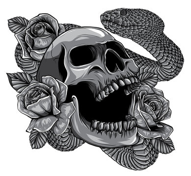 Monochromatic Skull with snake and five roses tattoo vector
