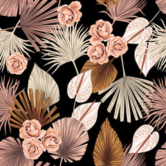 Tropical floral boho dried palm leaves, rose, anthurium flower seamless pattern black background. Exotic jungle wallpaper.