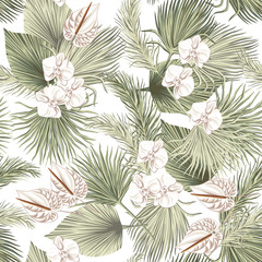 Tropical floral boho dried palm leaves, orchid anthurium flower seamless pattern white background. Exotic jungle wallpaper.