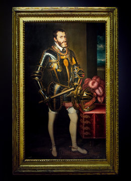 Madrid, Spain - November 21, 2019.  King Charles I of Castile and Aragon and Charles V of the Holy Roman Emperor portrait. by Juan Pantoja de la Cruz, XVII century, Oil on canvas. Prado Museum.