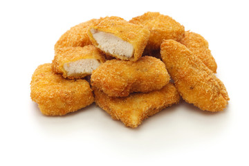 homemade chicken nuggets isolated on white background
