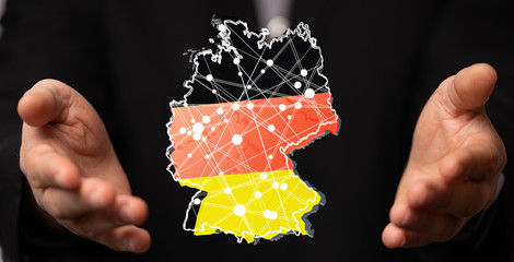 germany map digital in hand 3d Fototapete