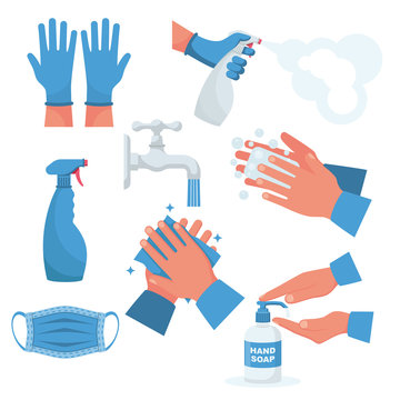 Prevention set. Rubber gloves on hands, medical mask. Bottle of antiseptic spray. Antibacterial flask. Disinfectant concept. Vector flat design. Coronavirus protection. Hand washing water with soap.