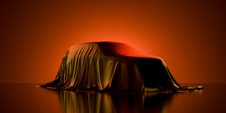 Presentation Of Luxury Car Covered With Cloth on Dark Illuminated By Orange Neon Light Background. 3d rendering