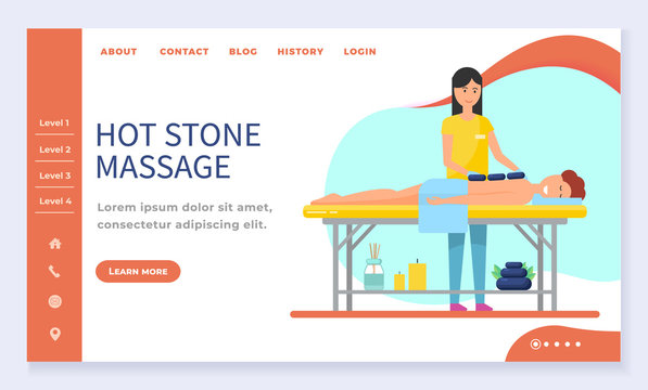 Hot stone massage, spa salon web landing page template vector. Girl lying at massage table, beauty studio, wellness center Internet banner. Massaging session, masseur and patient in towel illustration