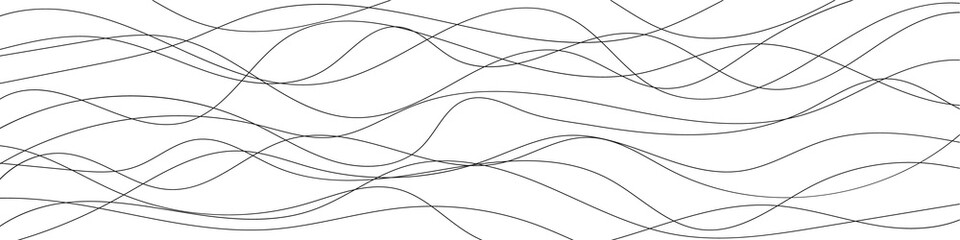 Thin line wavy background. Vector illustration.