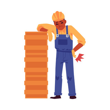 Injured construction worker cartoon character flat vector illustration isolated.