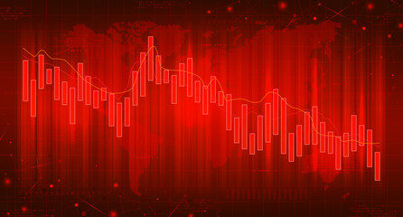 Red banner with financial falling charts. Concept of digital stock market trading. Vector illustration. Abstract background with technology business diagrams. Wall mural