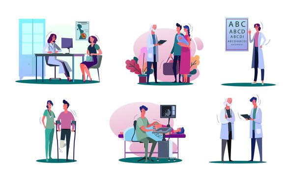 Consulting doctor illustration set. Pregnant woman, young couple with baby, man with trauma visiting doctor. Healthcare concept. illustration for banners, posters, website design