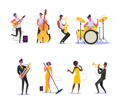 Set of musicians performing on scene. Group of musicians singing and playing musical instruments. Performance concept. illustration can be used for presentation, project, webpage