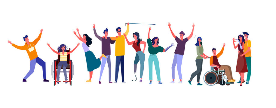 Diverse people set. Disabled men and women community. Flat illustrations. Diversity, communication concept for banner, website design or landing web page