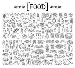 Vector cartoon set on the theme of food. Isolated doodles of fruits, vegetables, bakery products, meat, sausage, grocery on white background. Hand drawn elements