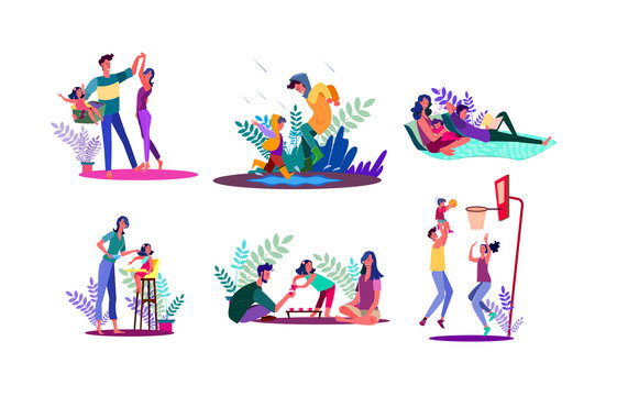 Family spending time together set. Parents and children walking outdoors, playing games, relaxing. Flat illustrations. Parenthood concept for banner, website design or landing web page