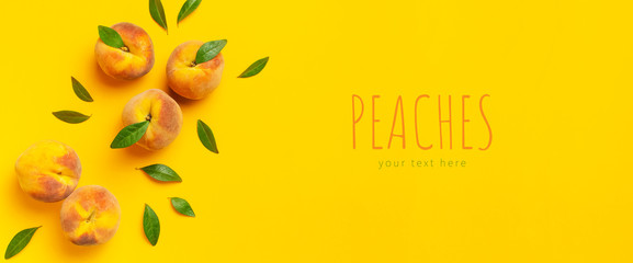Wall Mural - Summer fruit background. Flat lay composition with peaches. Ripe juicy peaches with green leaves on yellow background. Flat lay top view copy space. Fresh organic fruit, vegan food. Harvest concept