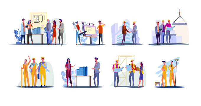 Real estate development set. Architects working on building design, foreman and engineer shaking hand. Flat illustrations. Construction concept for banner, website design or landing web page