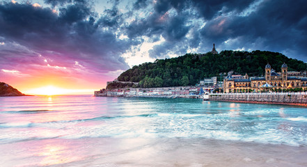 Nice sunset at the old town of San Sebastian, Spain