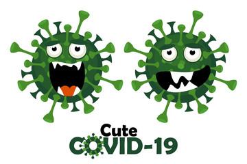 The cartoon character of the cute covid-19 virus. Fotobehang