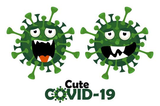 The cartoon character of the cute covid-19 virus.