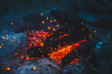 Vivid smoldered firewoods burned in fire close-up. Atmospheric background with orange flame of campfire. Unimaginable full frame image of bonfire. Glowing embers in air. Warm logs, bright sparks bokeh