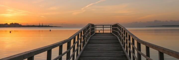 romantic sea bridge image, panorama, wallpaper