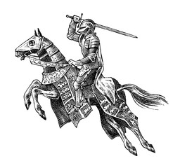 Medieval armed knight riding a horse. Historical ancient military character. Prince with a sword and shield. Ancient fighter. Vintage vector sketch. Engraved hand drawn illustration.