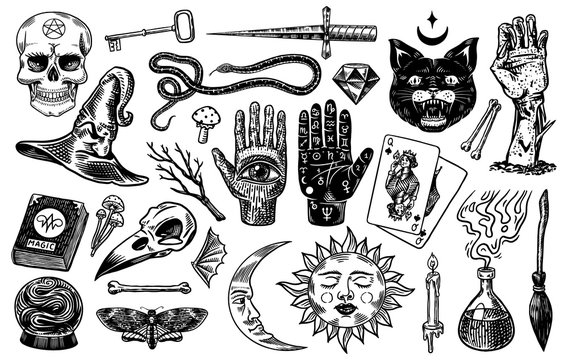 Mystical magic boho elements. Witchcraft voodoo astrological set. Esoteric alchemy occult sketch for tattoo. Palmistry and skull, the hand of a dead man. Drawn Engraved Game Cards and Black Cat.