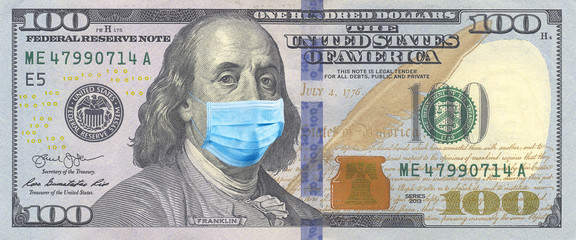 100 bills with Benjamin Franklin in a medical mask. Coronavirus in United States. One Hundred Dollar Bill With Medical Face Mask. Crisis, quarantine, recession and finance concept.
