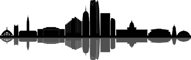 Fototapete - OKLAHOMA City Skyline Silhouette Cityscape Vector