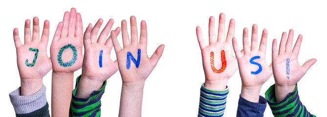 Children Hands Building Colorful English Word Join Us. White Isolated Background