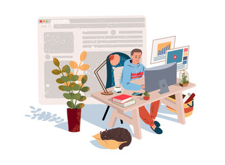 Home Office in Quarantine time (coronavirus). Freelancer guy working at home with pets and plants. Social distancing and self-isolation during covid-19 virus quarantine. Vector illustration