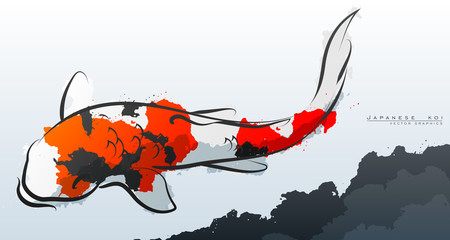 Japanese koi. Vector illustration. Compound paths with gradients for easy color change.