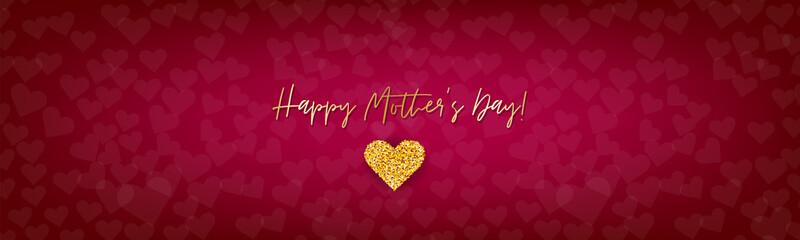 Mothers Day simple banner, website or newsletter header. Golden glitter hearts on red background. Vector illustration.