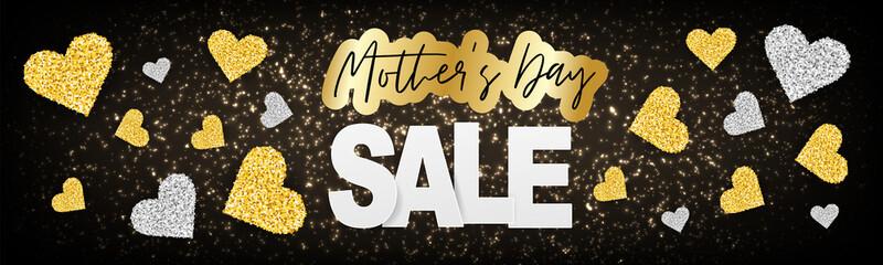 Mothers Day sale banner, website or newsletter header. Golden hearts garland on black background. Vector illustration.
