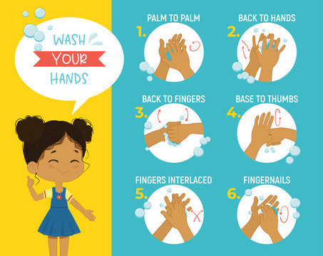 How to wash your hands Step Poster Infographic illustration. Poster with African girl shows how to wash hands properly.