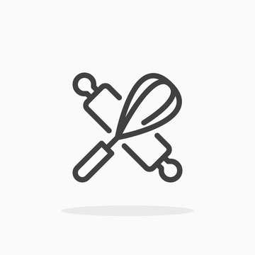 Rolling pin and whisk icon in line style. Editable stroke.