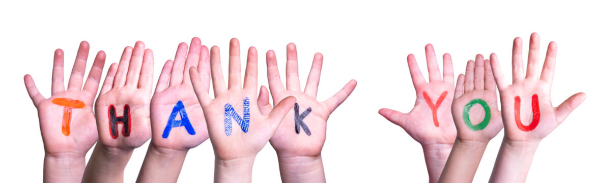 Many Children Hands Building Colorful Word Thank You. White Isolated Background