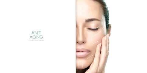 Surgery and Anti Aging Concept. Beauty Face Spa Woman. Cosmetology and Skincare