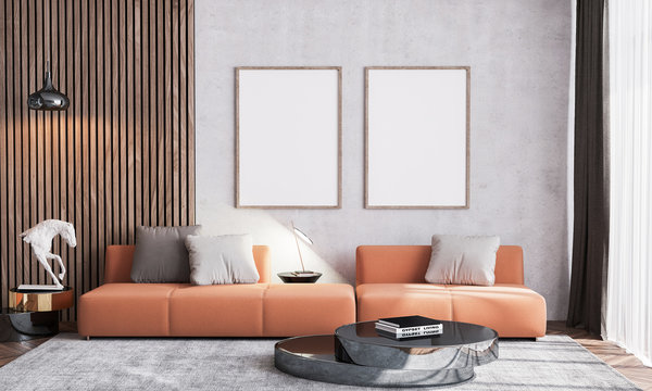 Poster mock up of Scandinavian interior design of orange living room with couch furniture, vintage beige wallpaper background with wooden wall stripes, wood empty frames and black table. .3d render