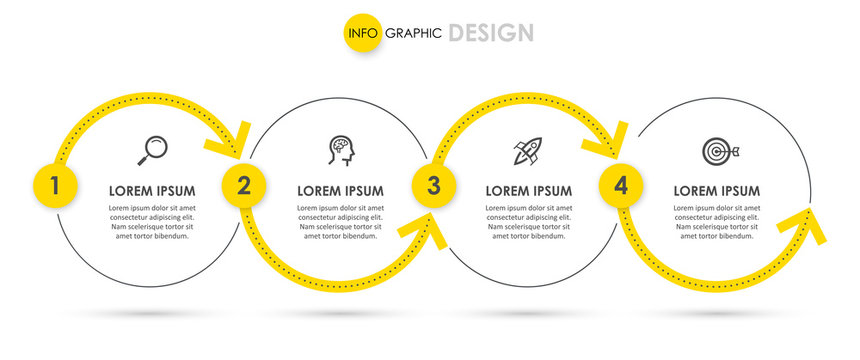 Vector Infographic design with icons and 4 options or steps. Infographics for business concept. Can be used for presentations banner, workflow layout, process diagram, flow chart, info graph