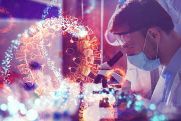 Doctor in the laboratory analyzes samples under a microscope. Pharmaceutical treatment concept