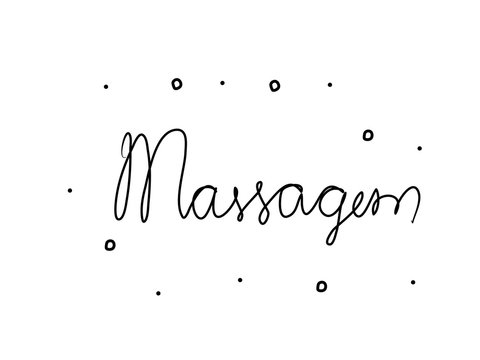 Massagem phrase handwritten with a calligraphy brush. Massage in portuguese. Modern brush calligraphy. Isolated word black
