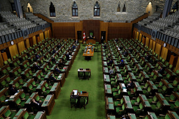 Canada's Leader of the Government in the House of Commons Pablo Rodriguez speaks in the House of Commons as legislators convene at the House of Commons in Ottawa
