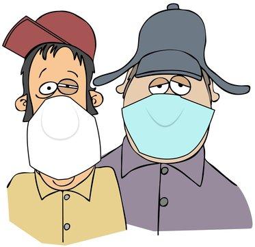 Two rednecks wearing face masks