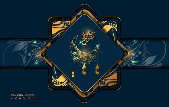 Ramadan Kareem in luxury style with Arabic calligraphy. Luxury golden mandala on dark blue background for Ramadan Mubarak