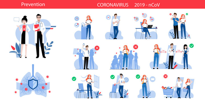 Concept Of Behaviour During Quarantine, Precautionary Measures For Avoidance Viruses Infection. Coronavirus Infographic With Prevention Posters . Cartoon Linear Outline Flat Vector Illustrations Set