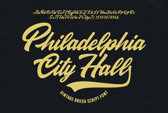 """Philadelphia City Hall"". Original Brush Script Font. Retro Typeface. Vector Illustration."