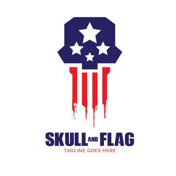 Skull and Flag logo. vector