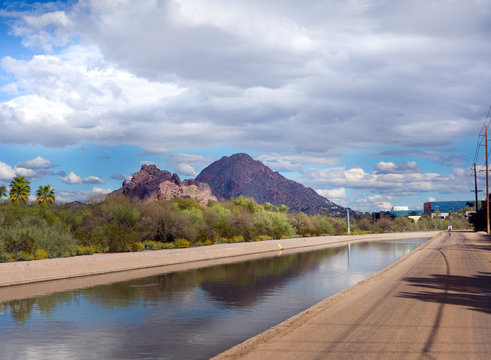 The Grand Canal, Phoenix, Scottsdale, Az,USA.  The oldest remaining pioneer canal on the north side of the Salt River, runs 21 miles from 75th Ave and Camelback Road all the way to Papago Park.